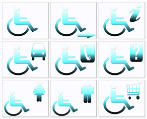 Handicap symbol, disabled icon set