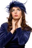 Hot girl in blue bonnet poster