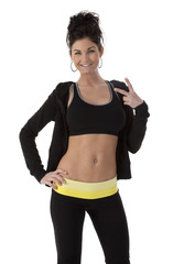 Happy Woman Wearing Fitness Clothes