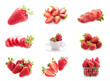 Strawberry on withe background, set of nine