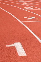 Running track curve with lane numbers