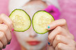 cucumbers for the eyes at a spa