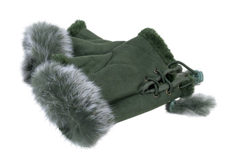Fur-Trimmed Fingerless Gloves