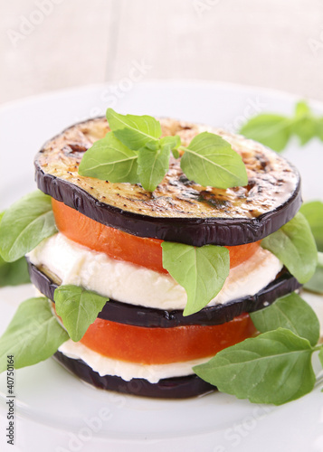 grilled aubergine,tomato and mozzarella