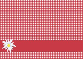 Karo Rot Weiß mit Edelweiß - Hintergrund