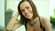 Portrait of beautiful smiling woman outdoor, steadicam shot