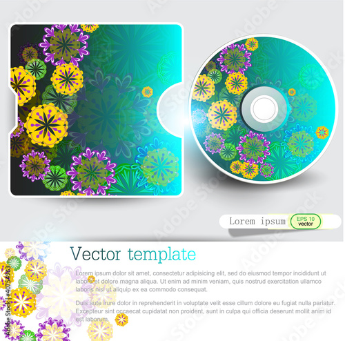 Cover design template of disk. Floral Design