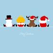 Santa, Angel, Reindeer & Snowman Blue
