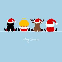 Santa, Angel, Reindeer & Penguin Blue