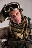 Close up portrait of soldier.