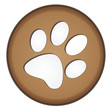 Brown Button Paw Print