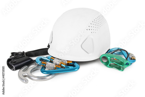 different equipment for mountain climbing isolated