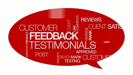 Feedback testimonials tag cloud red bubble animation