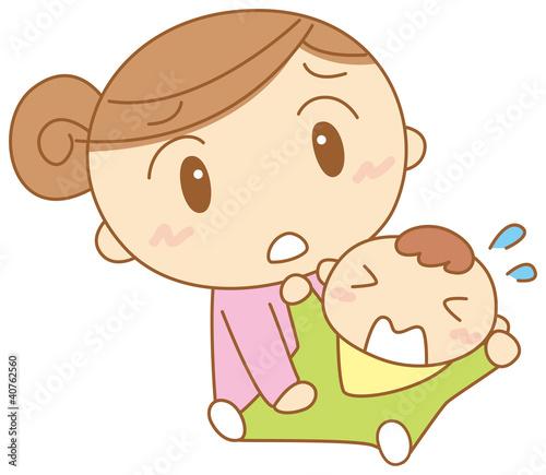 泣く赤ちゃんに困るお母さん