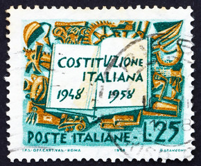 Postage stamp Italy 1958 Book and Symbols of Labor Industry and