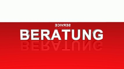 Text Rotation - 100% Beratung Service Kompetenz - Rot Weiß
