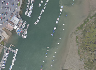 Aerial view of boats docked in harbor