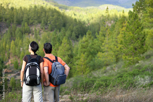 Couple hiking in the wilderness