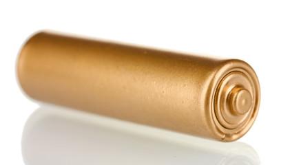 Golden battery isolated on white