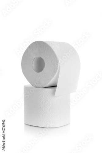 Two rolls of toilet paper isolated over a white background