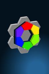 Logo Farbsechseck 3d