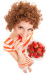 Fun woman with strawberry on the white background