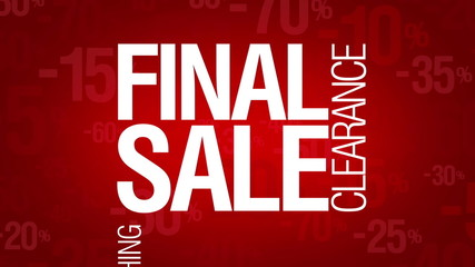 Final sale, everything 50 percent off. Sale words loop.