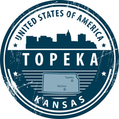 Stamp with name of Kansas, Topeka, vector illustration