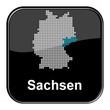 Glossy Button schwarz - Deutschlandkarte: Bundesland Sachsen