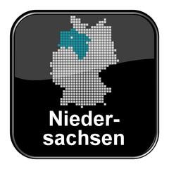 Glossy Button - Deutschlandkarte: Bundesland Niedersachsen