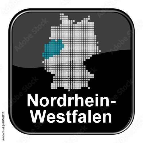 Glossy Button - Deutschlandkarte: Bundesland Nordrhein-Westfalen