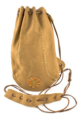 Leather pouch bag tied with leather string