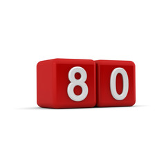Red 3D block with number eighty