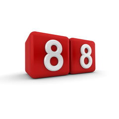Red 3D block with number eighty eight