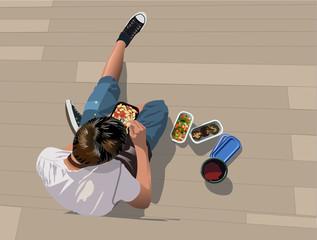 Lunch break - Boy's eating take away food