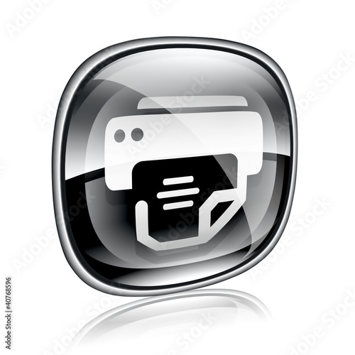 printer icon black glass, isolated on white background.