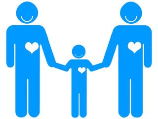 Casal masculino de mão dada a uma criança