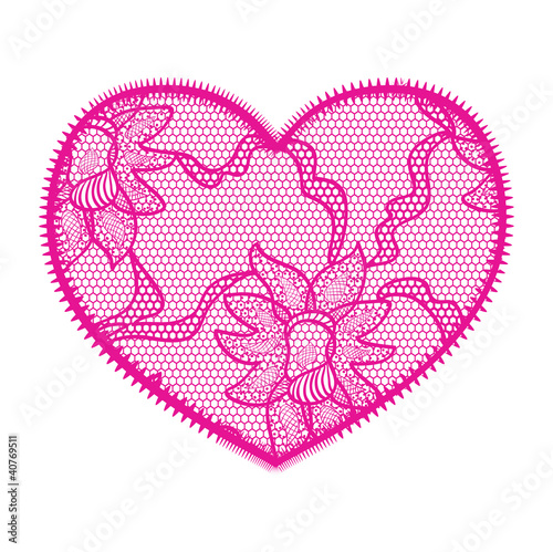 Lace heart pink applique