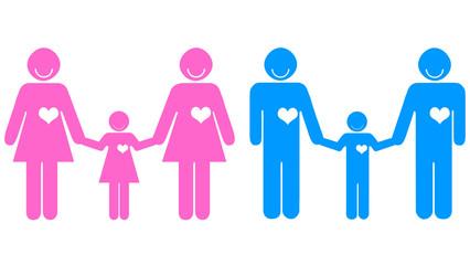 Casais de mãos dadas a crianças - igualdade na adoção