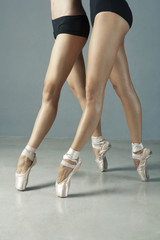 Ballet dancers posing on pointe