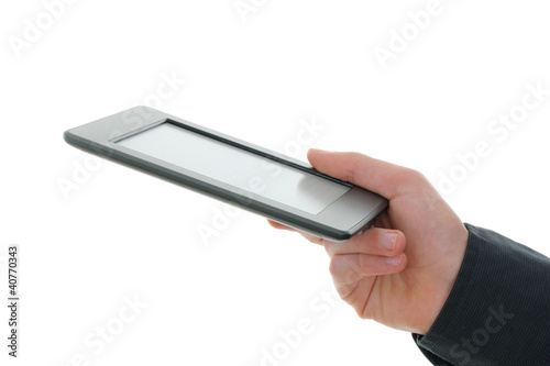 E-reader and hand.