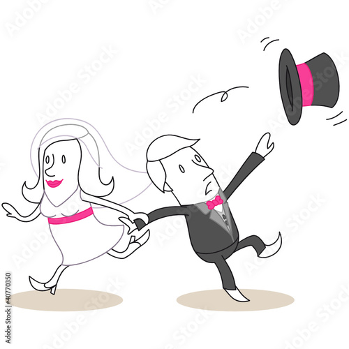 Figur, Braut zerrt Bräutigam hinter sich her