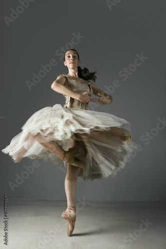 Ballet dancer posing on pointe