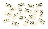 Chaotic arranged dominoes on white