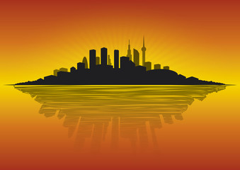 Cityscape at dawn