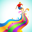 Surfer on Colorful Wave