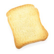 Toast or rusk bread slice isolated, clipping path included