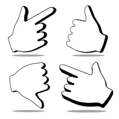 Set of 3d Hand Cursor on white background