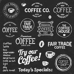 Coffee chalkboard text and symbols