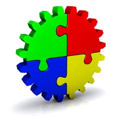 Zahnrad als Puzzle
